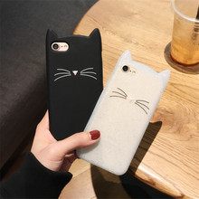 Buy 3D Cute Korea Cartoon Cat iPhone 8 7 6S Case Coque Soft Silicone Black White Phone Cases iPhone 8 Plus 7 Plus Back Cover for $3.62 in AliExpress store
