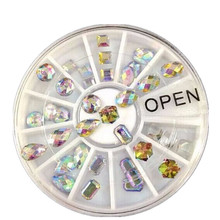 1wheels 36pcs Multicolor Rhinestones Nail Art Tips Crystal Glitter Decoration 3d Nail Art Stones Beads Cellphone Nails TRNC109