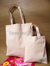 Wholesale Size W30*H36cm Blank Canvas Cotton Tote Bag Custom Logo Accepted Free Shipping(China)