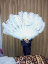 Wholesale 6pcs beatiful natural Ostrich feather fan son decoration(China)