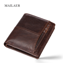 MAILAER Men's wallet short leather wallet folding wallet short section men's leather cowhide wallet vertical money bag(China)