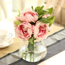 5 Heads Home Decorative Flowers Silk Artificial Flower Fake Peony Bridal Vivid Peony Fake Leaf Home Wedding Garden Decor
