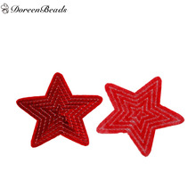 DoreenBeads 5 PCs Polyester Patches Appliques DIY Scrapbooking Craft Pentagram Star Red Sequined Clothes Appareal Sewing Decor