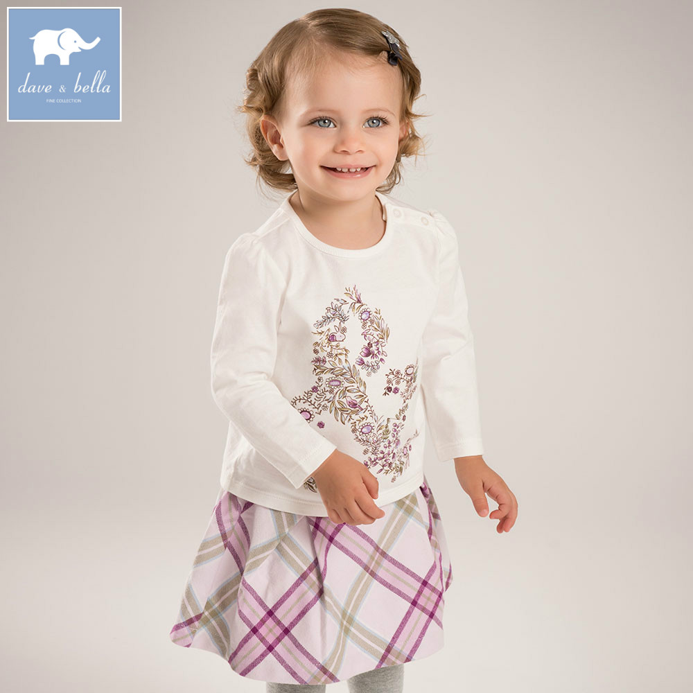 DB5786 dave bella autumn baby girls clothing sets printed suit children clothing sets high quality clothes<br>