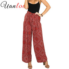 UANLOE Vintage Bow Tie Women Print Flower Pattern Wide Leg Loose Cotton Dress Pants European Style Female Casual Skirt Trousers(China)