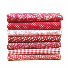 7pcs/lot 50x50cm  New arrive Red  Floral Dot 100% Cotton Fabric Sewing Tilda Doll Cloth DIY Quilting Patchwork Tissue Textile