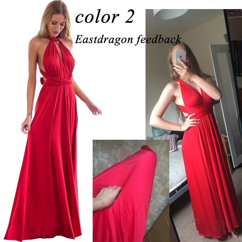 BFUSTYLE Sexy Wrap Convertible Boho Maxi Club Red Dress 5