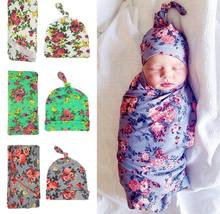 Retail 2017 Newborn Baby Floral Receiving Blankets Swaddling Cotton Blankets With Hat Photography props 90*90cm PJ009(China)