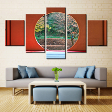 Forbeauty 5 Piece Canvas Painting Spring is round the window The maple leaf The yellow pages In the autumn The scenery