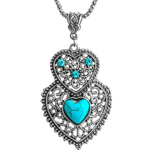 SHUANGR Double Heart Green Resin Stone Pendant Necklace Silver Color Women's Crystal Fashion Necklace Jewelry(China)
