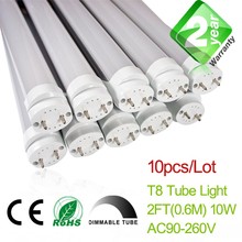 Free Shipping Dimmable 10pcs/Lot 2ft T8 LED Fluorescent Tube Light 600mm 10W 900LM CE & RoSH