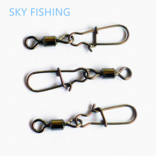 30pcs Swivel MS+HX Rolling Swivel with Coastlock Snap Size8, 6, 4, 2 Hook Lure Connector Terminal swivel for Fishihooks
