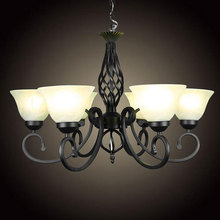 European Wrough Iron retro living room chandelier dining room bedroom lustre hanging lighting milky glass lampshade promotion