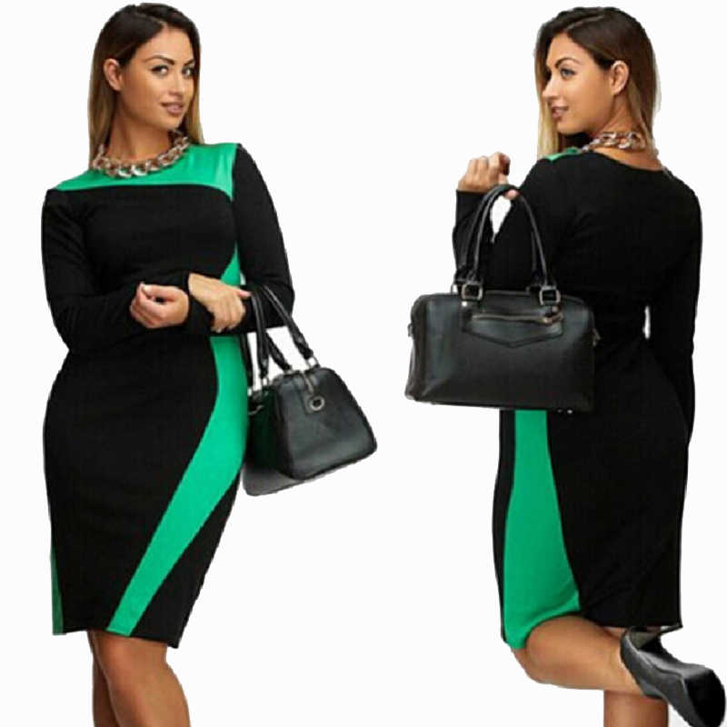 Sakazy Plus Size L-6XL Bodycon Elastic Women Elegant Dress Patchwork Modest Fat  Mm OL c891d6c1b49d