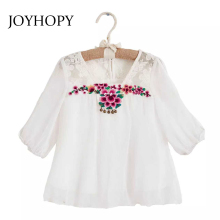 JOYHOPY 2017 Children's Blouses Floral Embroidery Girls Shirts New Fashion Style Children for Girls Clothes