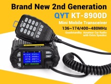 Sale! QYT KT-8900D mini car mobile transceiver 25W with quad band screen vehicle two way radio Large LCD Display