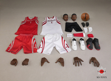 T-005 1/6 Scale Houston Rockets Tracy McGrady Head Sculpts and Basketball Clothes in White/Red & Shoes Model Accessory