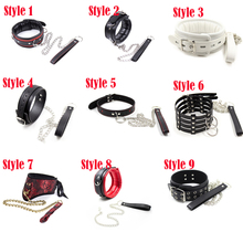 Buy PU Leather Fetish SM Bondage Sex Neck Collar Leash Adult Game Sex Product Sex Toys Slave Erotic Neck Collar Ring Erotic Toys