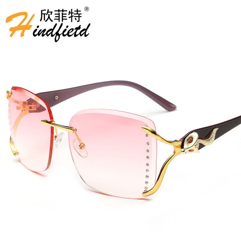2016 New Brand Designer Sunglasses Women Fashion Gradient Rimless Female Sun glasses pink Mirror Sunglass 6 Color Gafas Oculos <br><br>Aliexpress