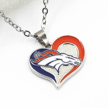 Denver Broncos USA Football Sports Team Heart Enamel Necklace Jewelry 50cm Stainless Steel Chains - Sanguine DIY Store store