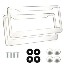 Car-styling 2 Pieces Stainless Steel Metal License Plate Frames Tag Cover Screw Caps Silver July13#2(China)