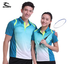 SEA PLANETSP Sportswear sweat Quick Dry breathable badminton shirt ,Women/Men table tennis Ping pong clothes team POLO T Shirts(China)