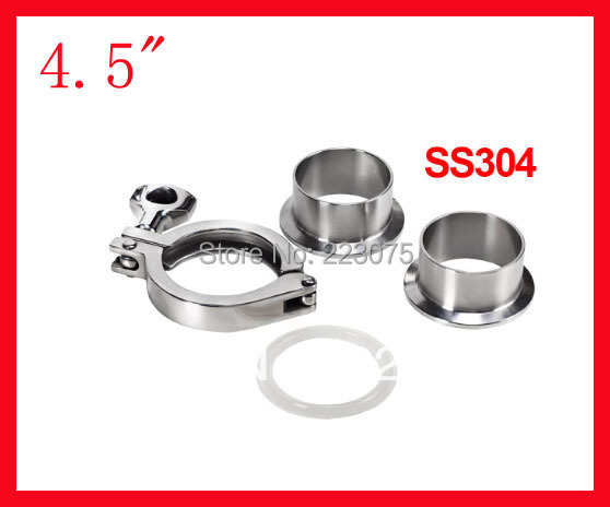 Free shipping 4.5 SS304 beverage union /Tri-clamp complete set (2x ferrule + 1xclamp + 1xgasket)<br><br>Aliexpress