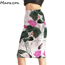 Maoxzon Womens High Waist Digital Print Pencil Skirts Female Fashion Summer Lotus Printed Slim Sexy Package Hip Skirts 4XL(China)