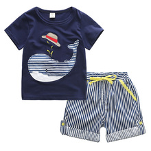 Europe and the United States new 2017 brand children's clothing cool summer boys set, cartoon T-shirt + striped shorts two-piece