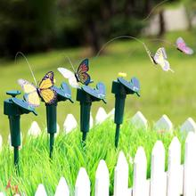 Hot Sales Vibration Solar Powered Dancing Flying Butterfly Garden Wall Yard DecorationV(China)