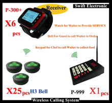 Wireless waiter call system and Kitchen Pager Sytem with 25PCS Waiter Call Bell and 6 Watch receiver and 1 pcs keypad(China)