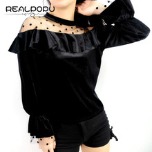 Realpopu Velvet Ruffles O Neck T Shirt Women T Shirt Patchwork Mesh Dot Long Sleeve Over size Black Basic Funny T-shirt Top(China)