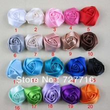 Mixed 20 color 4CM 200PCS/LOT Beauty Assorted Colours DIY ornament Satin Flower / Hair Accessories / Ribbon silk flower(China)