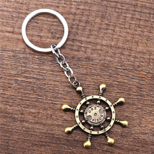 J Store Anime One Piece Rudder Compass Model Bronze Alloy Pendant Keychain Key Holder For Women Men Jewelry porte clef Chaveiro(China)