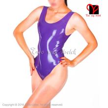 Latex Swimsuit Zip-Leotard Sexy Size-Xxxl Without Purple TC-029