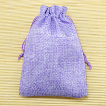 Wholesale 50pcs Purple Jute Bag 13x18cm Wedding Gift bags Drawable Burlap Bag Pouches Favor Watch Bracelet Jewelry Packaging Bag(China)