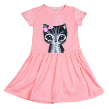 Kids Dresses For Girls Cat Print Grey Baby Girls Clothes Short Sleeve O-Neck Summer Dress 0-8 Years