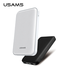 10000 mAh power bank USAMS External Battery fast charger Dual USB 5V 2.1A Universal External Battery Charger(China)