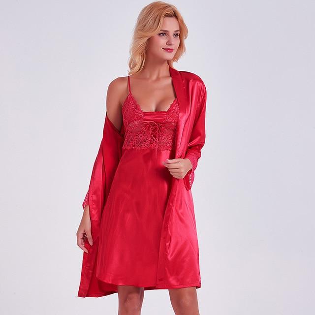 e2ffdde5d14 Sexy Femmes Robe De Nuit Robe Set De Soie Rouge Satin Vêtements De Nuit 2  Pièce Robe De Nuit + Kimono Robes Nuit Robe De Nuit Femme Vêtements De Nuit