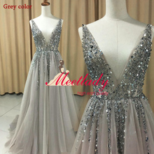 New V neck Grey Sparkly Vestido de Festa Open Back Evening Gowns 2017 Elegant Sexy See Through High Split Tulle Prom Dress