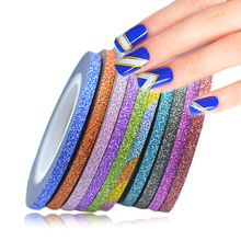 12 Color 3mm Nail Art Glitter Rolls Tape Sticker Striping Tips Line DIY Nail Manicure Beauty Edge Tools Set TRNC394