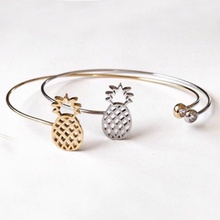 Hot 1 PCS Fashion Girl Accessories Jewelry Copper Alloy Cute Pineapple Fruit Cuff Bangle Bracelet femme manchette