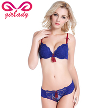 GIRLADY Women Lace Push Up Bra And Panty Set Lingerie Sexy Underwear Bra Set Chinese 3 Quarters Cup Navy Bra Lace Panties Female