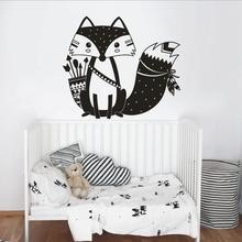 Cute Fox Wall Sticker Vinyl Kid Room Wall Decals Removable Wallpaper Baby Nursery Mural Interior Wall Decor Creative Decal SA961(China)