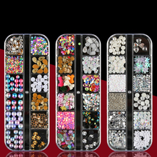 1Box Nail Art Rhinestones Glitter 3d Nail Charms Dried Flowers Nail Jewelry Gems Fingernail Studs Crystal Rhinestone Micro Beads(China)