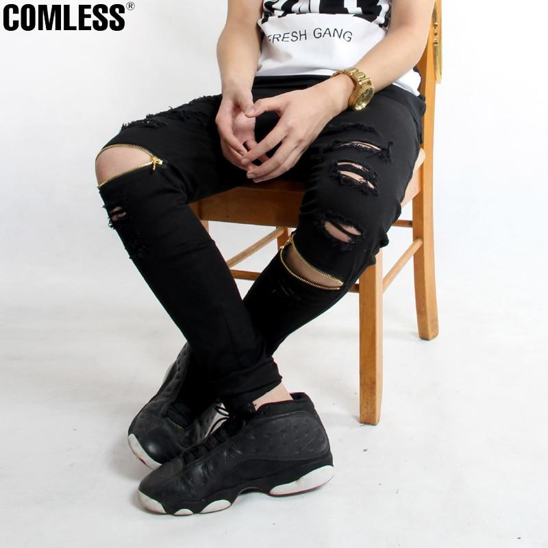 New Brand Hi-Street For Men Ripped Biker Jeans Motorcycle Skinny Slim Fit Black Denim Pants Destroyed Swag Joggers Kanye WestОдежда и ак�е��уары<br><br><br>Aliexpress