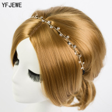 YFJEWE Free Shipping Women Hair Accessories Crystal Chain Charms Head Bands Women Jewelry Wedding Bridal Hair Jewelry H008(China)