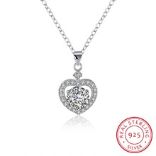 100% 925 Sterling Silver Heart Pendant Necklace with AAA Zircon Fashion Engagement Jewelry For Women Top Quality ANGELTEARS