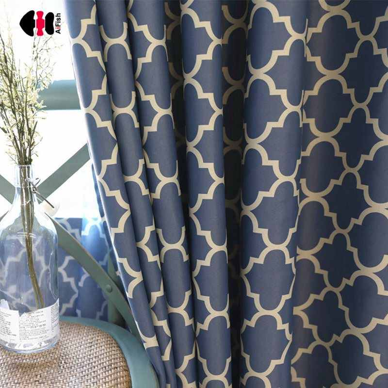 Geometric Plaid Pattern Curtains for Bedroom Pastoral Country Style Semi-Shade Customized Polyester Cotton Window Cortinas JS15C