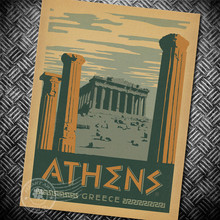 Athens Greece Posters of Famous Scenic Spots Simple Creative Kraft Paper Posters Classic Decorative Painting Art Paintings